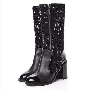 Chanel Patent Tweed CC Logo Mid Calf Boots